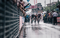 Elia Viviani (ITA/Quick Step Floors) wins his 4th 2018 Giro stage in the pooring rain<br /> <br /> stage 17: Riva del Garda - Iseo (155 km)<br /> 101th Giro d'Italia 2018