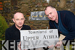 SIGN OF THE TIMES: James Carmody (FAS Supervisor in Athea) and Domhnall de Barra (Chairman of Athea Community Council Ltd) checking out the new signs which will be erected in various townlands in Athea over the coming months..