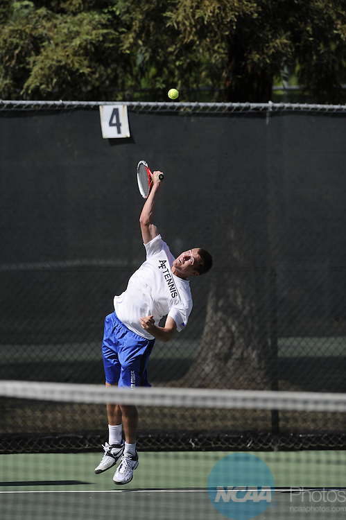 24 APR 2014:  The Air Force Academy takes on the University of New Mexico during the 2014 Mountain West Conference Men's Tennis Championship held at the Sierra Racquet and Sports Club held in Fresno, CA.  Justin Tafoya/NCAA Photos