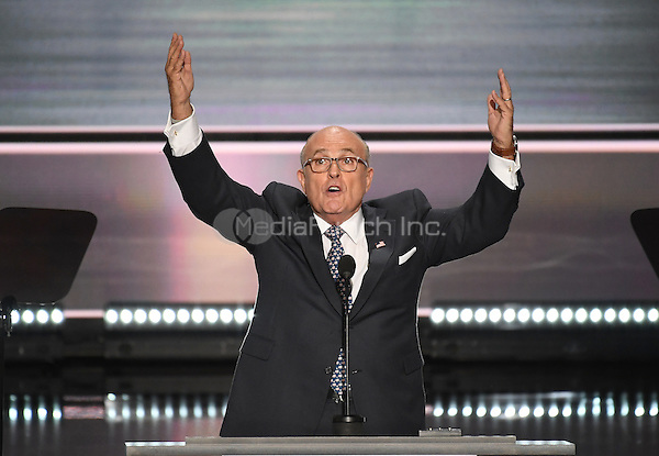 Former Mayor Rudy Giuliani (Republican of New York) makes remarks at the 2016 Republican National Convention held at the Quicken Loans Arena in Cleveland, Ohio on Monday, July 18, 2016.<br /> Credit: Ron Sachs / CNP/MediaPunch<br /> (RESTRICTION: NO New York or New Jersey Newspapers or newspapers within a 75 mile radius of New York City)