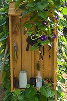 Gardening tools in storage box, Yarmouth Community Garden Yarmouth Maine