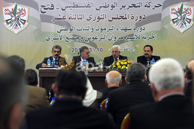 Palestinian president Mahmud Abbas chairs a meeting of the Revolutionary Council of his ruling Fatah party in the West Bank city of Ramallah on March 10, 2014. Photo by Thaer Ganaim