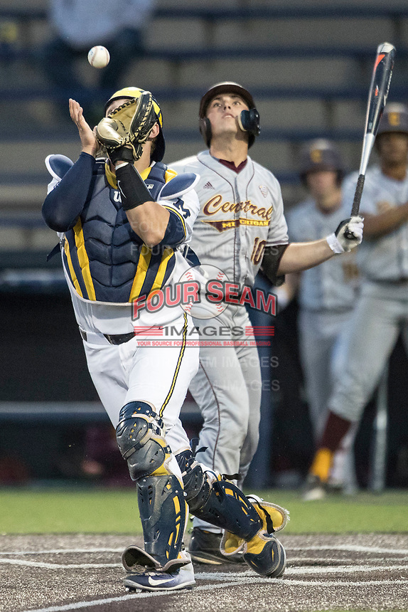 Michigan Wolverines catcher Harrison Wesson (7) fields a bouncing ball at the plate as Central Michigan Chippewas batter Jason Sullivan (10) looks on during the NCAA baseball game on May 9, 2017 at Ray Fisher Stadium in Ann Arbor, Michigan. Michigan defeated Central Michigan 4-2. (Andrew Woolley/Four Seam Images)