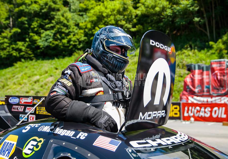 Jun 16, 2018; Bristol, TN, USA; NHRA funny car driver Matt Hagan during qualifying for the Thunder Valley Nationals at Bristol Dragway. Mandatory Credit: Mark J. Rebilas-USA TODAY Sports