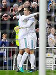 Real Madrid's Lucas Vazquez (l) and Cristiano Ronaldo celebrate goal during La Liga match.December 09,2017. (ALTERPHOTOS/Acero)