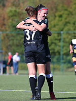 20190921 – LEUVEN, BELGIUM : E. Aalst's Margaux van Ackere (37) is pictured celebrating a goal with Annelies van Loock during a women soccer game between  Oud Heverlee Leuven Ladies B and Eendracht Aalst Ladies on the fourth matchday of the Belgian Division 1 season 2019-2020, the Belgian women's football  national division 1, Saturday 21th September 2019 at the Bruinveld Youth Complex, Domeinstraat in Leuven , Belgium. PHOTO SPORTPIX.BE | SEVIL OKTEM
