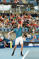 11th January 2020; Sydney Olympic Park Tennis Centre, Sydney, New South Wales, Australia; ATP Cup Australia, Sydney, Day 9; Serbia versus Russia;  Novak Djokovic versus Daniil Medvedev; Daniil Medvedev of Russia tosses the ball before serving to Novak Djokovic of Serbia - Editorial Use