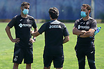 Getafe's coach Jose Bordalas (r) with his assistants Sergio Mora (l) and Javier Vidal during training session. May 25,2020.(ALTERPHOTOS/Acero)
