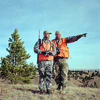 Jake Jacobs and John Taranto, a writer with Outdoor Life Magazine, hunt white tail deer at Trope Ranch near Hullett, Wyoming, Wednesday, November 7, 2012.<br /> <br /> <br /> Photo by Matt Nager