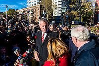 New York, NY - 14 November 2015 NYC  the Mayor Bill de Blasio and speaks with the press after attending a vigil in Washington Square Park to commemorate the victims of the 13 November Paris terror attacks.