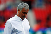 9th September 2017, bet365 Stadium, Stoke-on-Trent, England; EPL Premier League football, Stoke City versus Manchester United; Manchester United Manager Jose Mourinho looks down