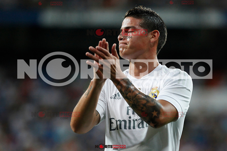 Real Madrid´s James Rodriguez during Santiago Bernabeu Trophy match at Santiago Bernabeu stadium in Madrid, Spain. August 18, 2015. (ALTERPHOTOS/Victor Blanco)