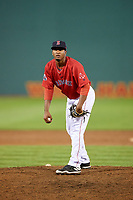 Salem Red Sox relief pitcher Algenis Martinez (45) looks in for the sign during the second game of a doubleheader against the Potomac Nationals on June 11, 2018 at Haley Toyota Field in Salem, Virginia.  Potomac defeated Salem 4-0.  (Mike Janes/Four Seam Images)