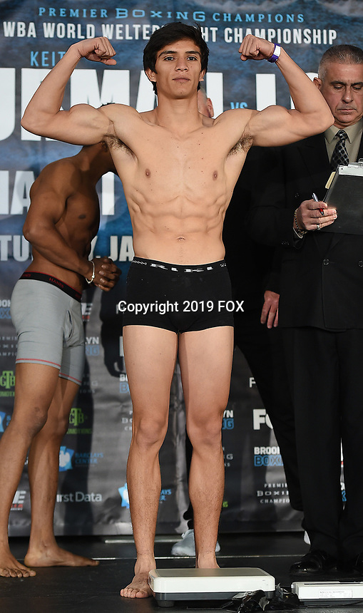 BROOKLYN - JANUARY 25: Boxer Roberto Almazan at the weigh-in for the January 26 PBC on FOX fight card at Barclays Arena on January 25, 2019, in Brooklyn, New York. (Photo by Frank Micelotta/Fox Sports/PictureGroup)