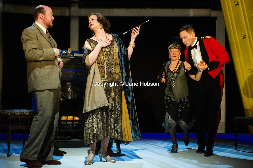 London, UK. 12.02.2013. THE VORTEX, written by Noel Coward, directed by Stephen Unwin, opens at the Rose Theatre, Kingston. Picture shows: John Cummins (Bruce Fairlight), Kerry Fox (Florence Lancaster), Helen Atkinson-Wood (Clara Hibbert) and Jack Hawkins (Tom Veryan). Photo credit: Jane Hobson.