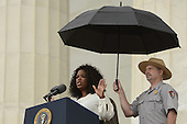 US actress and entertainer Oprah Winfrey (L) delivers remarks during the 'Let Freedom Ring' commemoration event, at the Lincoln Memorial in Washington DC, USA, 28 August 2013. The event was held to commemorate the 50th anniversary of the 28 August 1963 March on Washington led by the late Dr. Martin Luther King Jr., where he famously gave his 'I Have a Dream' speech.<br /> Credit: Michael Reynolds / Pool via CNP