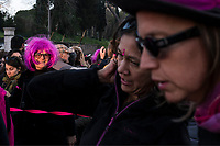 Rome, March 8, 2017. A moment of a demonstration demanding equal rights for women and men, on the occasion of the Women's Day, in Rome.