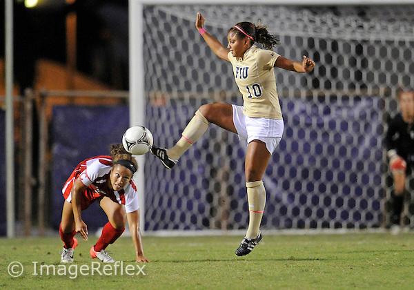 Florida International University women's soccer midfielder Scarlett Montoya (10) plays against University of Louisiana on October 12, 2012 at Miami, Florida. FIU won the game 2-1. .