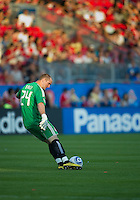 28 August 2010: Toronto FC goalkeeper Stefan Frei #24 kicks a ball up field during a game between Real Salt Lake and Toronto FC at BMO Field in Toronto..The game ended in a 0-0 draw..