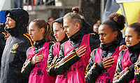 20200226 Kalmthout, BELGIUM : Belgian players (left to right) Louise, Wijns, Jorine Voets, ,Lea Desmarais, Lina Meeuwis, Nelle van Parijs sing national anthem before the international friendly soccer match between the national youth Women Under 17 teams of Belgium and the Netherlands, a friendly game in preparation for the UEFA Elite rounds in March in Belgium for the Belgian team, Wednesday 26th of February 2020 at Sportpark Heikant in Kalmthout, BELGIUM. PHOTO: SPORTPIX.BE | Sevil Oktem