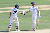 Ravi Bopara and James Foster of Essex celebrate a 200 partnership during Essex CCC vs Warwickshire CCC, Specsavers County Championship Division 1 Cricket at The Cloudfm County Ground on 20th June 2017