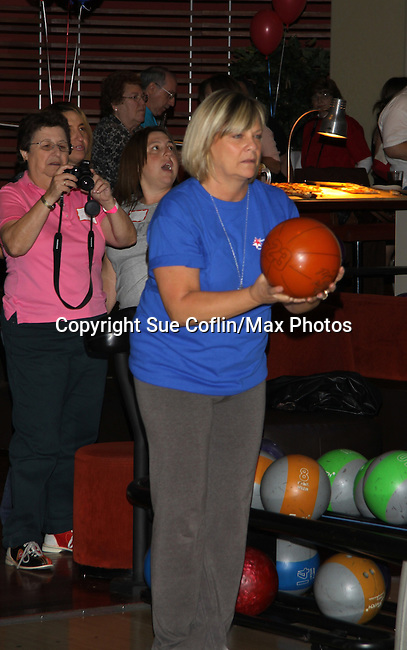 One Life To Live's and Guiding Light's Kim Zimmer bowls at The Seventh Annual Daytime Stars and Strikes benefitting The American Cancer Society hosted by Elizabeth Keifer and Jerry VerDorn with actors from One Life To Live, All My Children, As The World Turns and Guiding Light on October 9, 2010 in New York City, New York. (Photo by Sue Coflin/Max Photos)