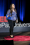 """Mariela Shaker presents her talk """"Healing Through Music: A Story of Hope from the Syrian Civil War"""" at TEDxDePaulUniversity Tuesday, April 18, 2017, in the Lincoln Park Student Center. TEDxDePaulUniversity is an independently run, self-organized event. Through the theme """"Courage to Connect"""" 10 speakers from across the DePaul community challenged thoughts and inspired ideas through a series of engaging talks and presentations. (DePaul University/Jeff Carrion)"""