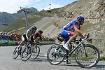 Thibaut Pinot (FRA) Groupama-FDJ leads the way as he climbs to stage victory atop the Col du Tourmalet near the end of Stage 14 of the 2019 Tour de France running 117.5km from Tarbes to Tourmalet Bareges, France. 20th July 2019.<br /> Picture: Colin Flockton | Cyclefile<br /> All photos usage must carry mandatory copyright credit (© Cyclefile | Colin Flockton)