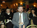 Gerry Adams President of Sinn Fein .(ripping up what could be the good friday agrement) .THIS IS NOT THE GOOD GOOD FRIDAY AGREMENT..as he waites to address the Sinn Fein National Womans Conference which Was Held in the Regency Hotel in Dublin.Pic Fran Caffrey Newsfile.Please By-line