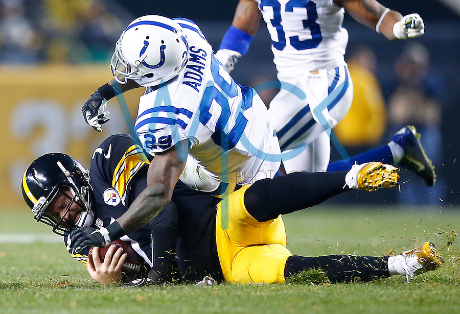 Ben Roethlisberger #7 of the Pittsburgh Steelers is tackled by Mike Adams #29 of the Indianapolis Colts after running with the ball in the second half during the game at Heinz Field on December 6, 2015 in Pittsburgh, Pennsylvania. (Photo by Jared Wickerham/DKPittsburghSports)