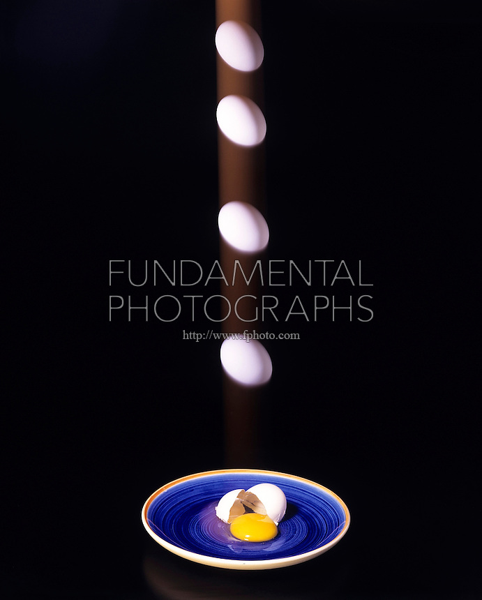ENTROPY OF A FALLING EGG - stroboscopic<br /> 2nd Law of Motion & Thermodynamics Demonstrated<br /> Acceleration of the falling egg equals the force on it divided by its mass. Entropy of the isolated system represented by the falling egg can only increase or remain the same. The cracked eggshell will not pull itself back together.