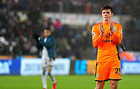 Burnley's Nick Pope applauds the fans at the final whistle <br /> <br /> Photographer Ashley Crowden/CameraSport<br /> <br /> The Premier League - Swansea City v Burnley - Saturday 10th February 2018 - Liberty Stadium - Swansea<br /> <br /> World Copyright &copy; 2018 CameraSport. All rights reserved. 43 Linden Ave. Countesthorpe. Leicester. England. LE8 5PG - Tel: +44 (0) 116 277 4147 - admin@camerasport.com - www.camerasport.com