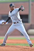 Pulaski Yankees starting pitcher Melvin Morla (48) delivers a pitch during a game against the Greeneville Astros on July 11, 2015 in Greeneville, Tennessee. The Yankees defeated the Astros 9-3. (Tony Farlow/Four Seam Images)