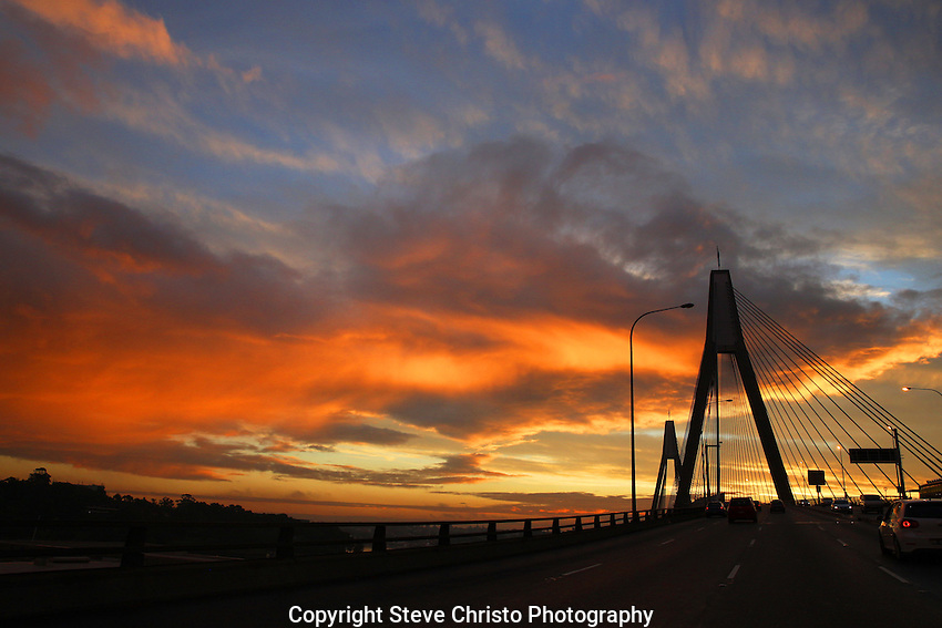 Sunset over Sydney's ANZAC Bridge, Sydney, Australia. Sunday 10th June 2013. (Photo: Steve Christo)