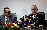 Palestinian Prime Minister Rami Hamdallah speaks during a press conference about the power crisis in the Gaza Strip in the West Bank city of Ramallah on January 16, 2017. Gaza's power authority said that fuel from Qatar arrived to the Gaza Strip on Monday. Qatari-bought diesel will double the amount of power provided to Gazan households. Gaza has been experiencing the worst electricity shortage in years, limiting Gazans to about four hours of electricity per day. Photo by Shadi Hatem