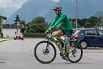 09.07.2019, Parkstadion, Zell am Ziller, AUT, TL Werder Bremen Zell am Ziller / Zillertal Tag 05<br /> <br /> im Bild<br /> Luca Plogmann (Werder Bremen #40) auf Mountainbike nach Trainingsende, <br /> <br /> Foto © nordphoto / Ewert