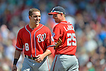 10 June 2012: Washington Nationals second baseman Danny Espinosa (left) smiles as he chats with Adam LaRoche during a game against the Boston Red Sox at Fenway Park in Boston, MA. The Nationals defeated the Red Sox 4-3 to sweep their 3-game interleague series. Mandatory Credit: Ed Wolfstein Photo