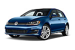 Stock pictures of low aggressive front three quarter view of a 2014 Volkswagen Golf SEL 5 Door Hatchback