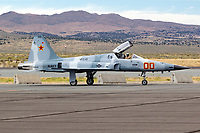 A U.S. Navy F-5 Aggressor from VFC-13 based out of NAS Fallon taxis on the ramp at Reno Stead Airport in Nevada. The Northrup built F-5 does not serve as a front line fighter the aircraft was adopted for use as a opposing forces (OPFOR) role because of its small size and performance similar to the Soviet built Mig-21.