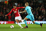 Memphis Depay of Manchester United takes on Rick Karsdorp of Feyenoord during the UEFA Europa League match at Old Trafford, Manchester. Picture date: November 24th 2016. Pic Matt McNulty/Sportimage
