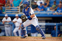 Dunedin Blue Jays catcher Danny Jansen (5) during a game against the St. Lucie Mets on April 20, 2017 at Florida Auto Exchange Stadium in Dunedin, Florida.  Dunedin defeated St. Lucie 6-4.  (Mike Janes/Four Seam Images)