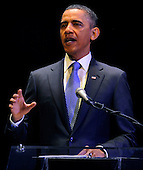 United States President Barack Obama makes remarks at an event to mark the 50th anniversary of the Inauguration of President John F. Kennedy at the Kennedy Center for the Performing Arts in Washington, DC, USA, Thursday, January 20, 2011.  Kennedy's promising presidential term was cut short when he was assassinated in Dallas, Texas, 22 November 1963. .Credit: Mike Theiler / Pool via CNP