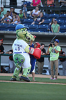 Rancho Cucamonga Quakes mascot Tremor takes a punch to the nose from a young fan between innings of a game against the San Jose Giants at LoanMart Field on August 30, 2015 in Rancho Cucamonga, California. Rancho Cucamonga defeated San Jose, 8-3. (Larry Goren/Four Seam Images)