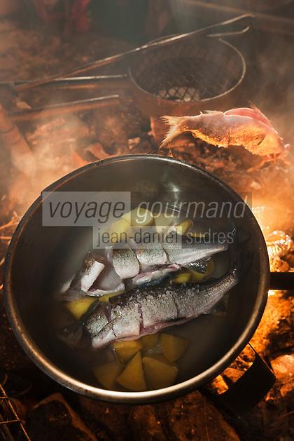Europe/Finlande/Laponie/Lac Jerisjärvi: Repas traditionnel lapon dans la kota du pêcheur: Yaros prépare la Siikakeitto ou Soupe de poisson blanc lapone, avec des  poissons du lac: Corégone blanc, Lavaret du lac