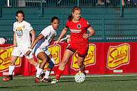 Rochester, NY - Friday June 17, 2016: Portland Thorns FC midfielder Lindsey Horan (7), Western New York Flash forward Jessica McDonald (14) during a regular season National Women's Soccer League (NWSL) match between the Western New York Flash and the Portland Thorns FC at Rochester Rhinos Stadium.