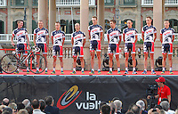 Lotto Belisol Team during the official presentation of La Vuelta 2012. Jurgen Van den Broeck, Bart De Clercq, Jens Debusschere, Adam Hansen, Olivier Kaisen, Gianni Meersman, Vicente Reynes, Joost Van Leijen and Frederik Willems. August 17,2012. (ALTERPHOTOS/Alfaqui/Paola Otero) /NortePhoto.com<br />