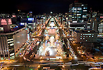 Sculptures along Odori Park are illuminated at night during the Sapporo Snow Festival in Sapporo City, northern Japan on 5 Feb 2010.