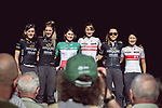 Wiggle High 5 at the Team presentation of La Fleche Wallonne Femmes 2018 running 118.5km from Huy to Huy, Belgium. 17/04/2018.<br /> Picture: ASO/Thomas Maheux | Cyclefile.<br /> <br /> All photos usage must carry mandatory copyright credit (&copy; Cyclefile | ASO/Thomas Maheux)