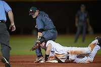 Northwestern Wildcats catcher Jack Claeys (44) slides into second as second baseman Zach Gary (2) attempts to tag during a game against the Saint Leo Lions on March 4, 2016 at North Charlotte Regional Park in Port Charlotte, Florida.  Saint Leo defeated Northwestern 5-3.  (Mike Janes/Four Seam Images)