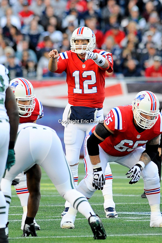 October 21, 2012 New England Patriots quarterback Tom Brady (12)  during the New England Patriots vs New York Jets game played at Gillette Stadium in Foxborough, Massachusetts.   Eric Canha/CSM